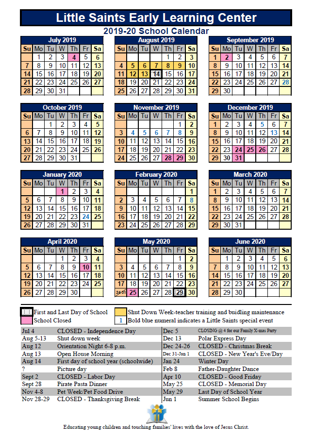 Saints Calendar 2019 Little Saints 2019 20 Calendar – Saint Michael Lutheran School